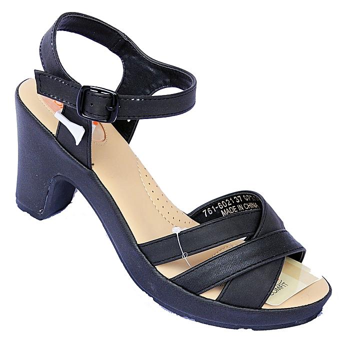 0a07819e6215 Bata Bata 761-6021 Ankle Strap Cut Out Sandals - Black