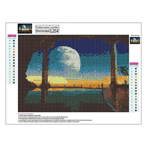 3D Diamond Painting Full Cross Stitch Kit Rhinestone Embroidery 40x30cm  L254 Multi-color