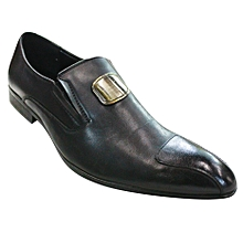 Leather Slip On Shoes Black