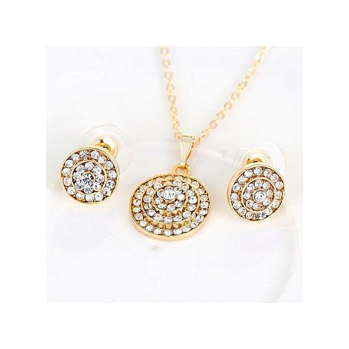 32400b912d Stylish Full Rhinestones Round Set Jewelry Necklace Earrings Ring Bracelet