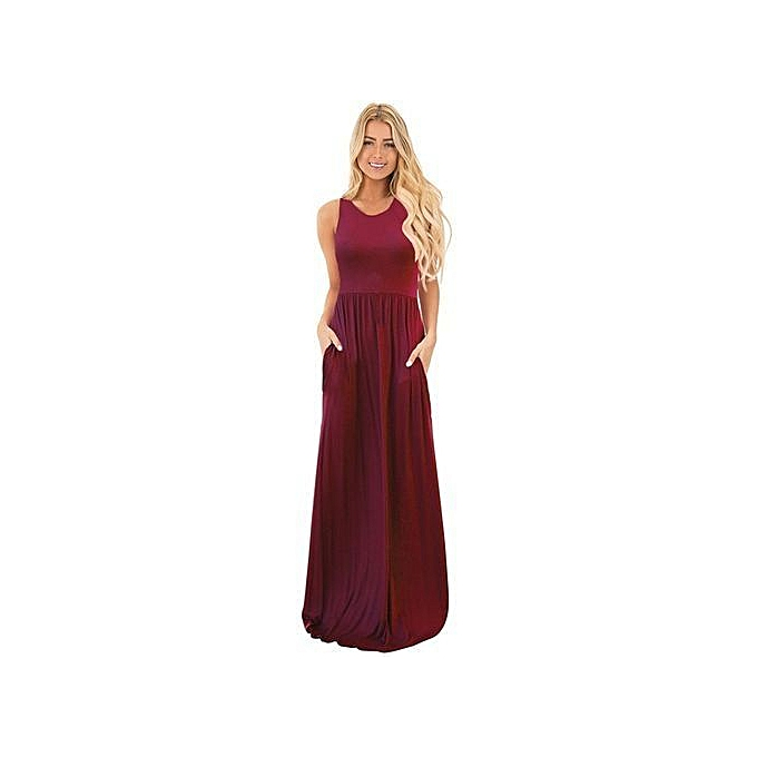 448c1242dc682 Ladies Summer Style Fitness Women Sexy Bodycon Long Maxi Dresses Casual  2017 New Sleeveless Dress Plus Size Slim Robe-wine Red