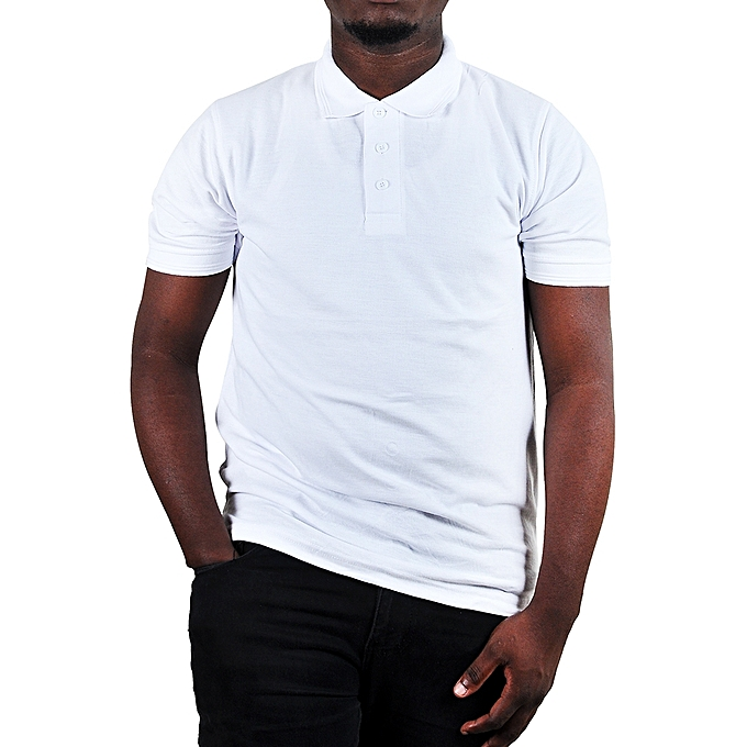 93ff4c75a536 Buy designer Cotton Men's Polo plain T-Shirt - White online | Jumia ...