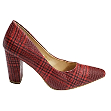 3407d995a29 Next Plaid Pointed Toe Block Shoes - Maroon