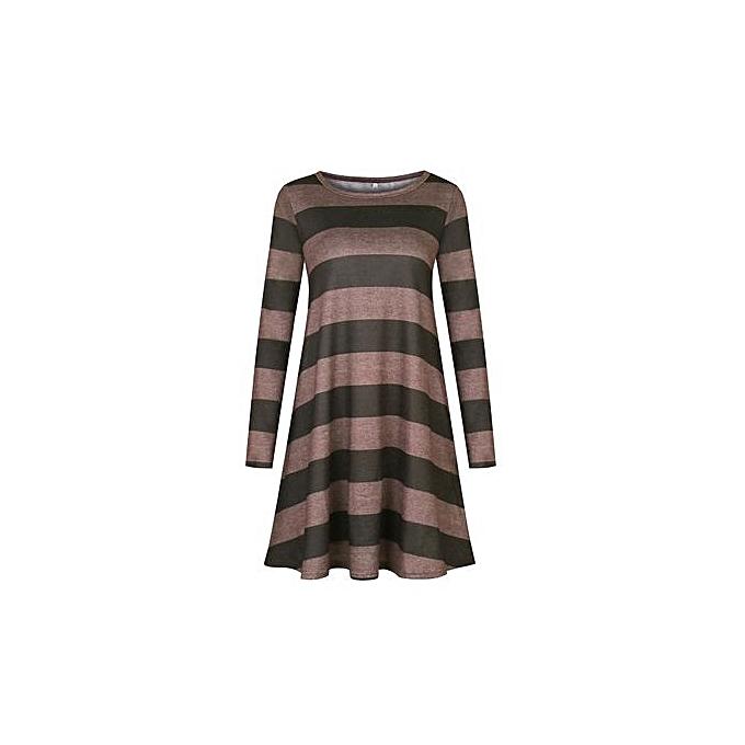 713451797d Western Style Women's Best-selling Short Skirt Amazon Hot Style Wide  Stripes Long Sleeve Dress