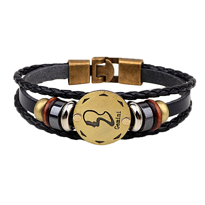 12 Constellations Bracelet Fashion Jewelry Leather Bracelet Personality  Gemini