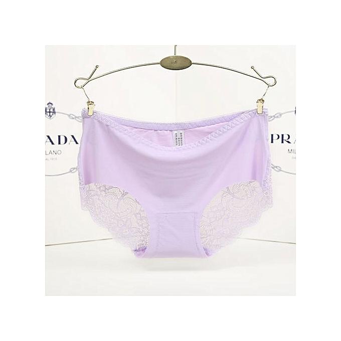 afd56f8b02bf Cotton Lace Ice Silk Seamless Women's Underwear Sexy Low Waist Triangle  Briefs-pink purple