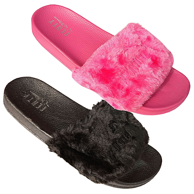 2202af620222e New 2 Pack Of Fluffy Fur Designed And Rubber Slip on Unisex Sandals ...