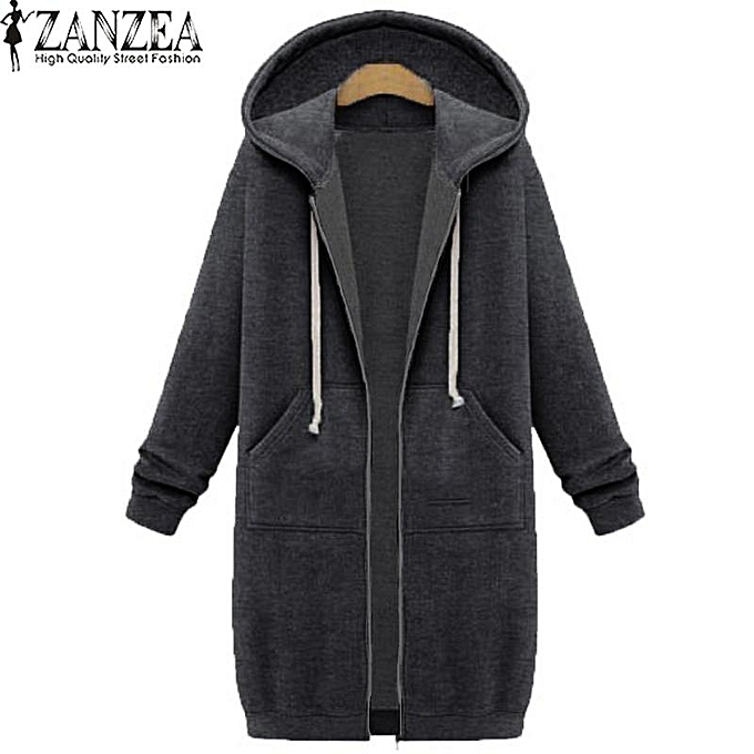 e51b2c539 New Arrival ZANZEA Winter Coats Jacket Women Long Hooded Sweatshirts Coat  Casual Zipper Outerwear Hoodies Plus Size (Dark Grey)
