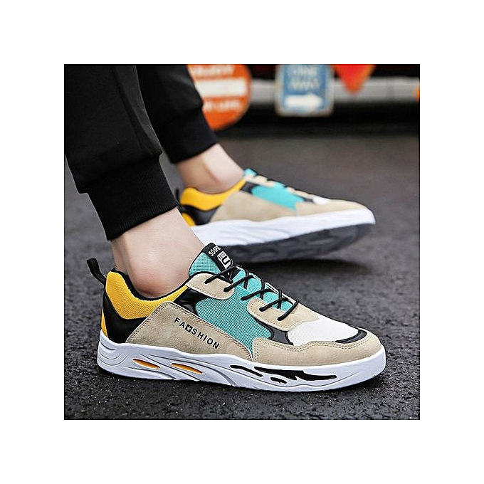3747328953749 Mesh breathable men's color matching skateboard shoes casual sports travel  trend lace men's shoes-yellow