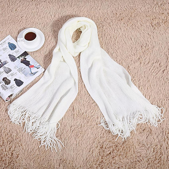 797a75a9d72f1 Fashionable Women Men Long Knitted Scarf Warm Shawl For Winter Autumn(White  With Tassels)