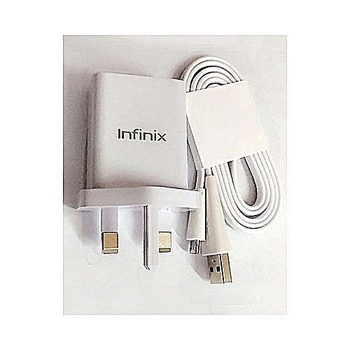 Flash Charger With USB Cable For Infinix Note Series  X521/X522/X551/X552/X554/X557/X600/X601/X602/X571/X572/X559 - White