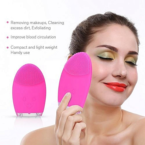 Silicone Pores Cleansing Facial Massager Blackhead Removal Deep Clean  Vibration Brush Rose Red