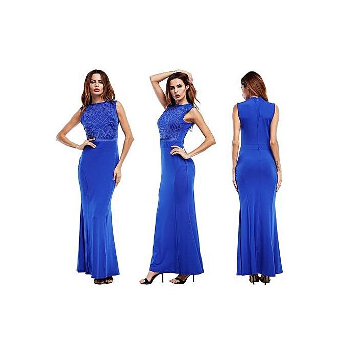 630c1fb10ef Summer Women Maxi Dresses Sexy Female Party Night Club Long Dress Black  White Blue Dress Vestido-blue