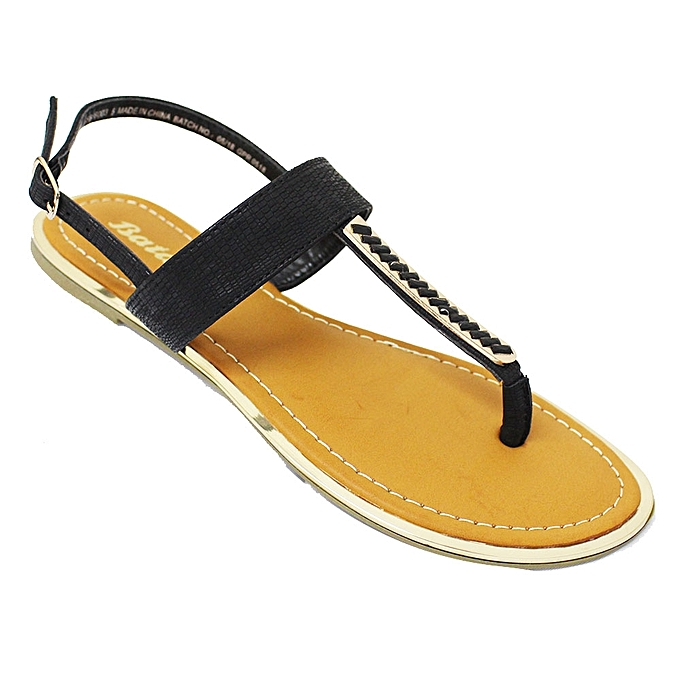 b18a9e46f Bata Bata 561-6003 Ankle Strap Flat Sandals - Black