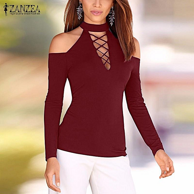b6a169b4c17 ZANZEA Women Off Shoulder Lace-up Tops Choker Neck Long Sleeve Slim Shirt  Blouse Wine