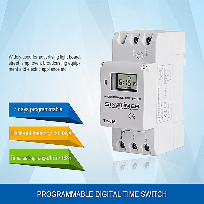 SINOTIMER 24V Weekly 7 Days Digital Programmable Timer Switch Relay Control  white