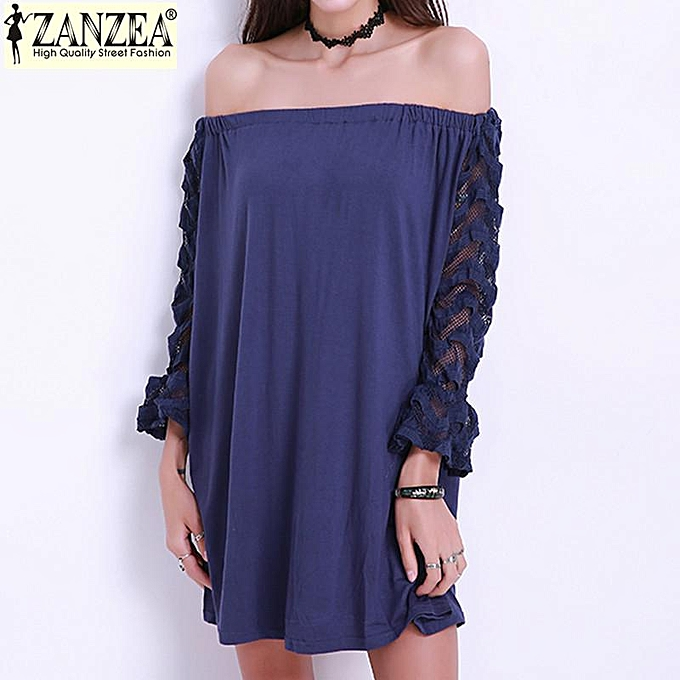 04cefccd72 ZANZEA Plus Size S-4XL Womens Sexy Lace Off Shoulder Long Sleeve Top Short  Mini Dress (Blue)