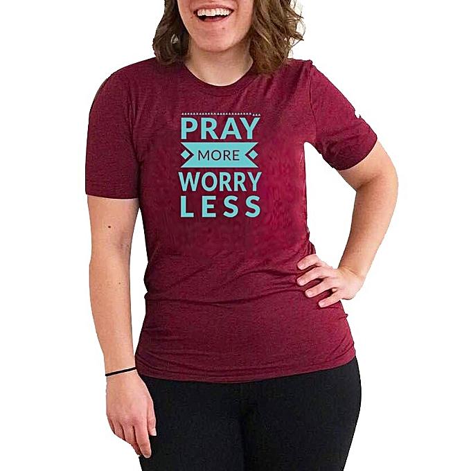 315ddd3cd Buy designer Pray More Worry Less Print Women's T-Shirt - Maroon ...