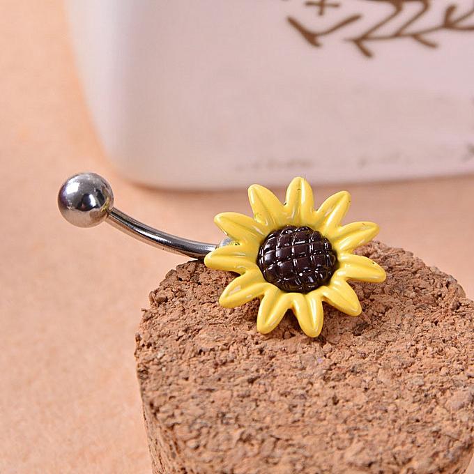 Hiamok Sunflower Flower Surgical Steel Belly Button Ring Navel Piercing Body Ye