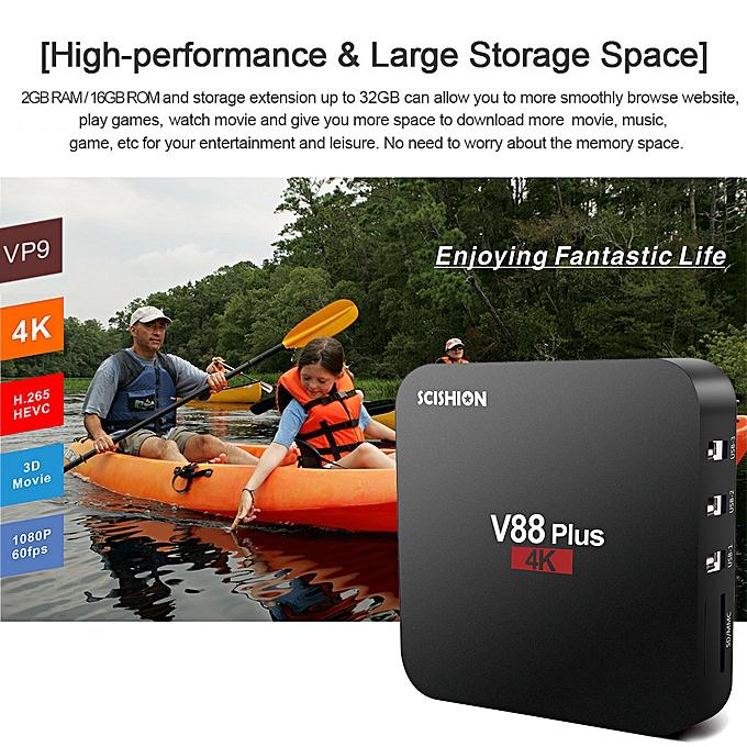 SCISHION V88 Plus Smart Android 8 1 TV Box RK3229 Quad Core 4K VP9 H 265  HDR10 USB3 0 2GB/16GB KODI Miracast DLNA WiFi LAN HD Media Player EU Plug