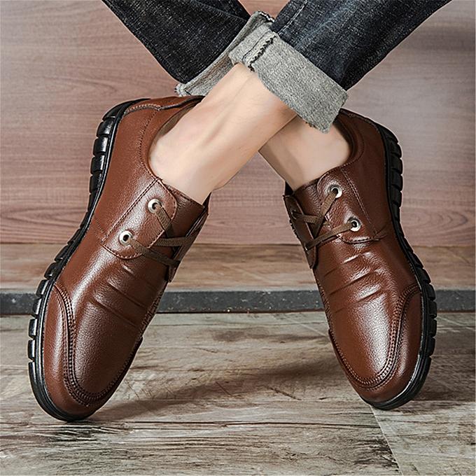 5ddb5b91d2656 Men Shoes Breathable Luxury Leather Leisure Shoes (Black)