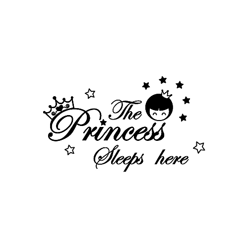 The Princess Sleeps Here Wall Decals Children's Room Home Decoration Art