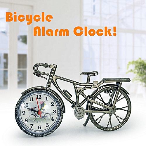 Hiamok Vintage Arabic Numeral Retro Bicycle Pattern Creative Alarm Clock  Home Decor