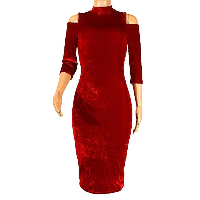 Buy Women S Velvet Bodycon Dress Marron Best Price