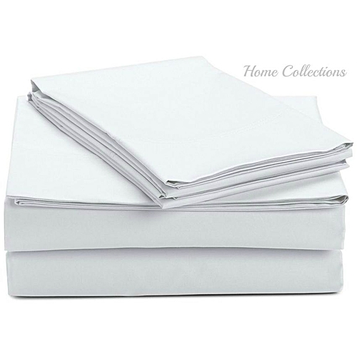 5*6 Cotton Bed Sheets With 2 Pillow Cases   White