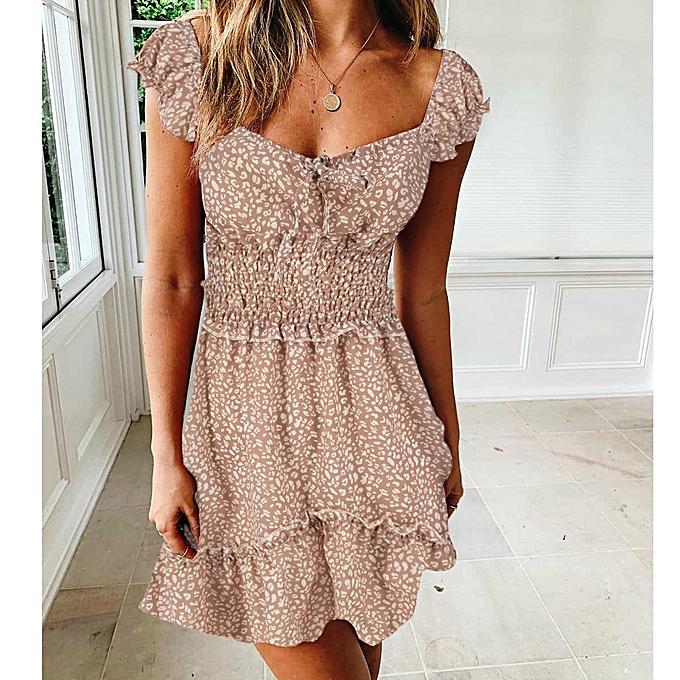 ea202193e8 Buy FASHION Women Vintage Floral Print Summer Short Sleeve Beach Mini Dress  online | Jumia Uganda