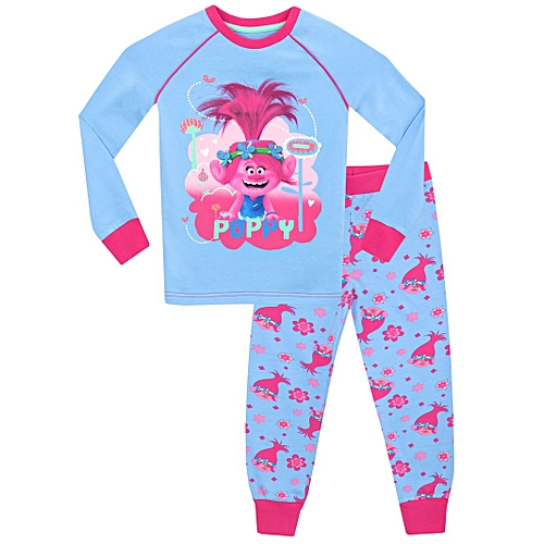eda54a5e55 Generic Girls Trolls - Poppy Snug Fit Long Pajama Set - Multi-Color ...