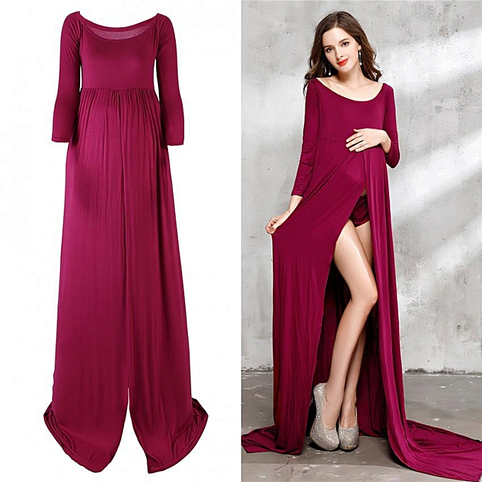 d332ae5a87ba4 Floor-Length Front Split Maternity Dress Clothes For Pregnant Photography  (Burgundy L)
