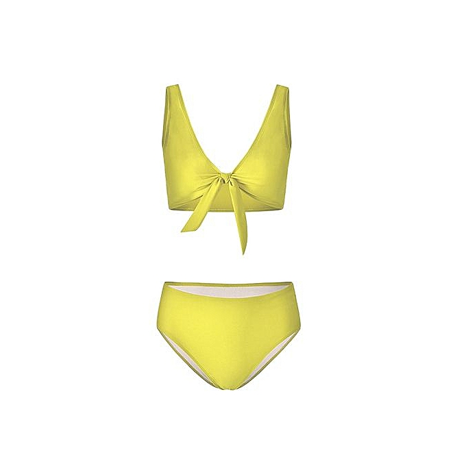 1f31d271f0 Buy FASHION Women's chest Bow Tie Bikini Pure color Swimsuit-yellow ...