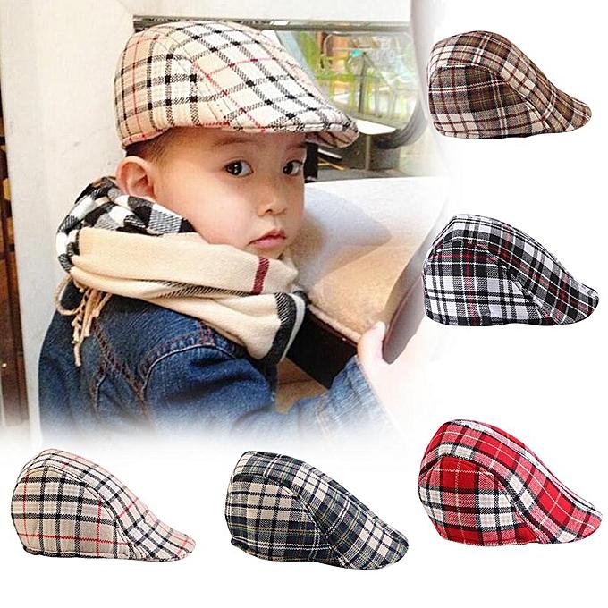 38333af7 Kids Baby Cotton Plaid Design Berets Newsboy Caps British Style Boys Girls Sun  Hat(Beige