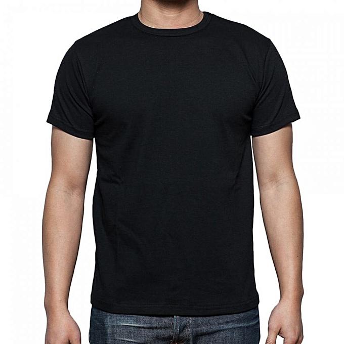e6e82d91c0c1 Buy Other Plain Black Round Neck Men's T-Shirt online | Jumia Uganda