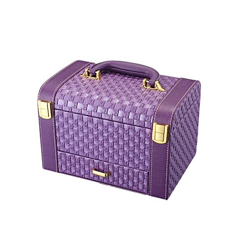 Portable Handheld Jewelry Display Makeup Casket Box 3 Layers Holder  Organizer Case Drawer for Gift Knit Pattern Watch Necklace Ring Earring