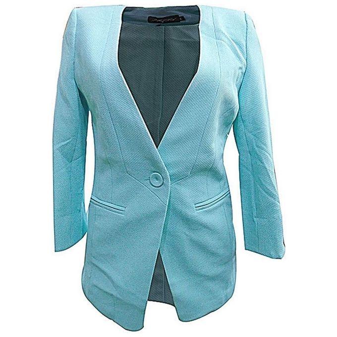 - Textured Pedal Sleeved Women's Blazer-Light Blue