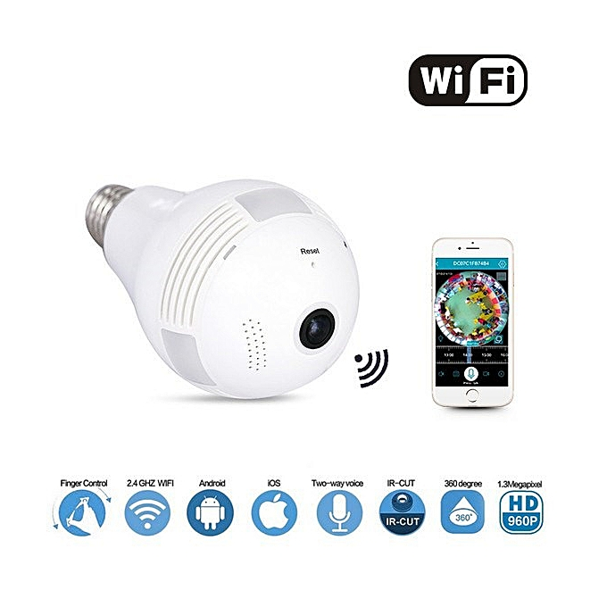 Smart Wireless 360 Degree Lens Spy Security Camera Bulb - White