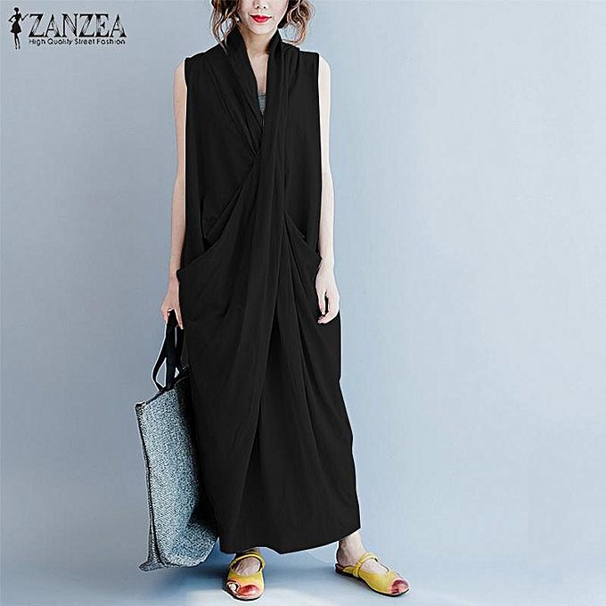 41d1d4c91d ZANZEA Women Plus Size Long Maxi Sundress Club Party Evening tail Dress