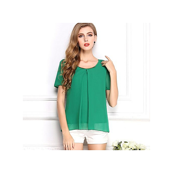 3c91335d398 Hot Women's Chiffon Blouse Big Size Loose Short Sleeve Tops Pure Color  Casual Work Shirts