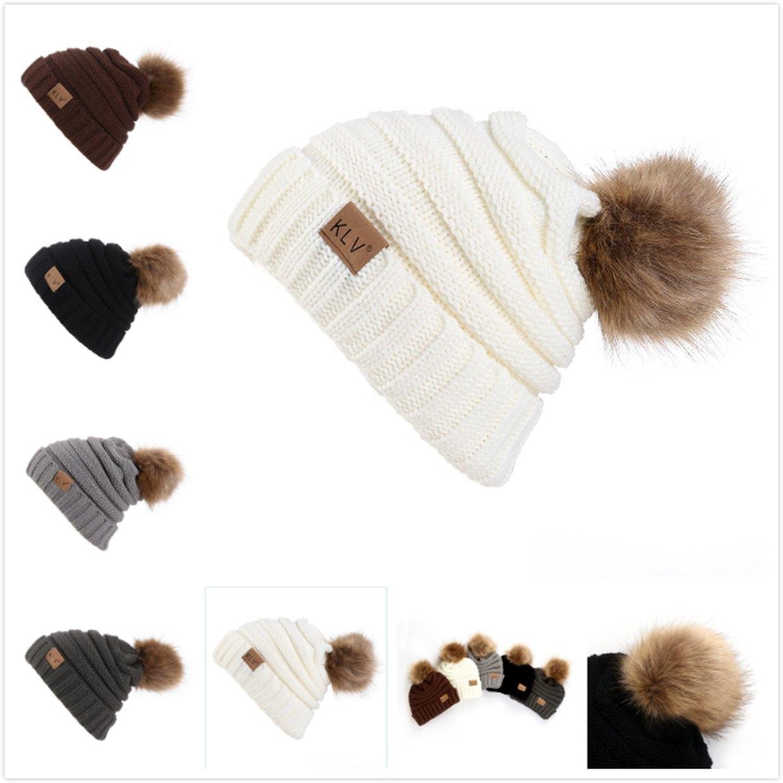 6058b2ba0 Buy Fashion Female Ball Cap Pom Poms Hat Women Knitted Beanies Thick ...