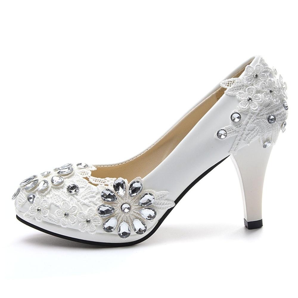 Shop Fashion NEW Women White Floral Stilettos Rhinestone