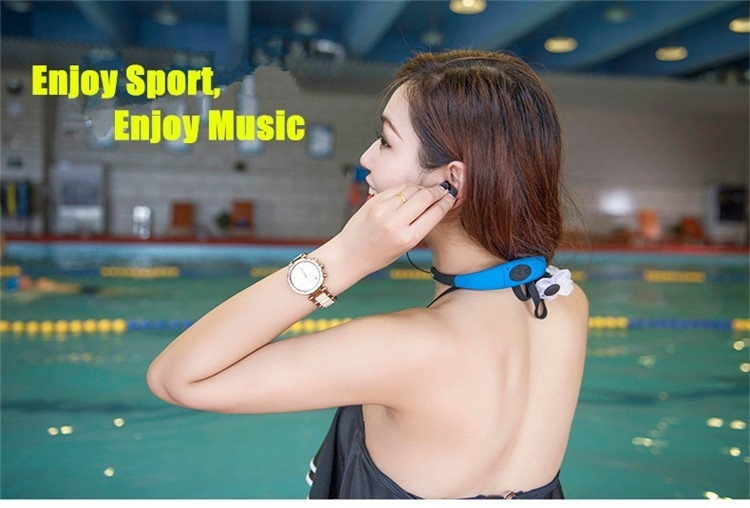 Askmeer IPX8 Waterproof 8GB Underwater Sport MP3 Music Player Neckband Stereo Earphone Audio Headset with FM for Diving Swimming (4)