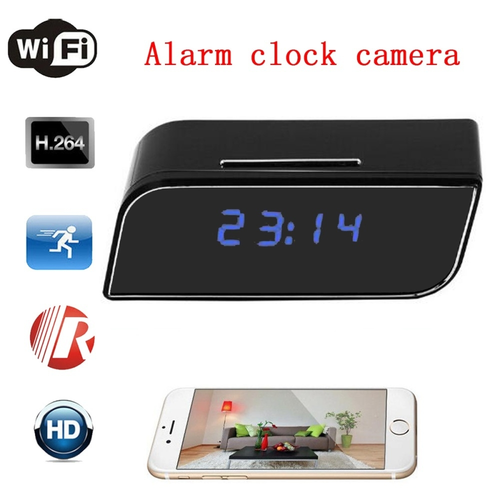 1080P Wireless Wifi Hidden IR Camera Motion Security Alarm Clock Night  Vision US