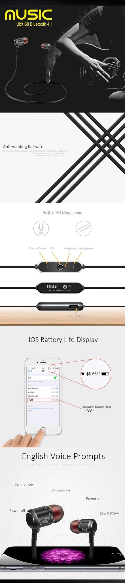 Ubit S8 Bluetooth Earphone (4)