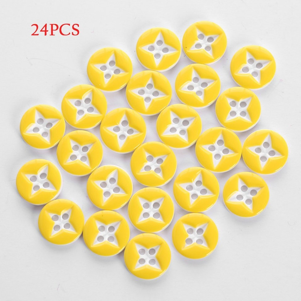 Star Shape Plastic Buttons 24pcs