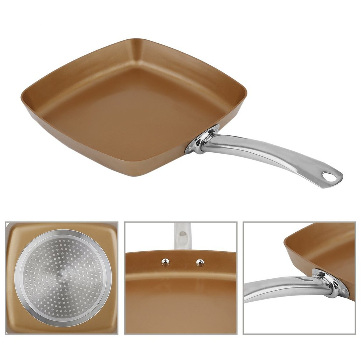 Buy Generic Square Non-Stick Copper Coating Frying Pan Safe