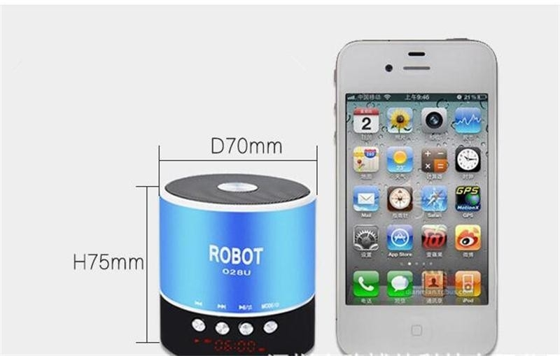 ROBOT-028U Portable Mini Digital Display Stereo Speaker - Cylindrical Card Speaker  - Black One Size 1
