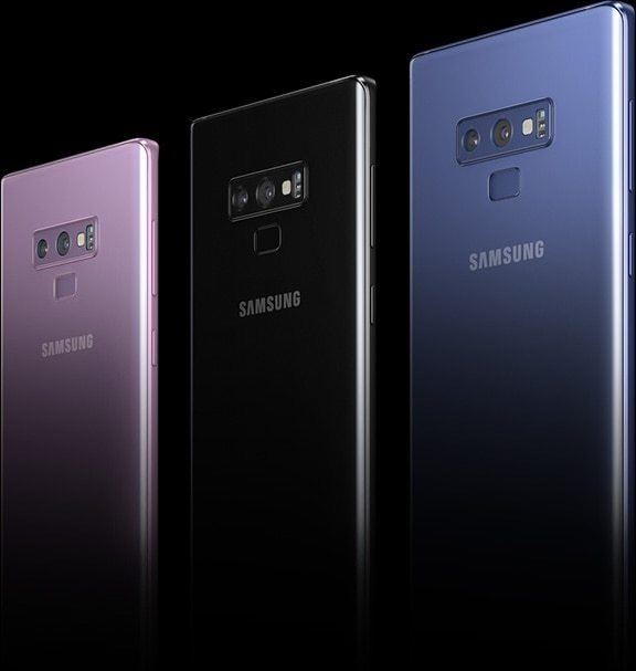 Galaxy Note9 seen from the rear at a three-quarter angle, showing the different color choices.