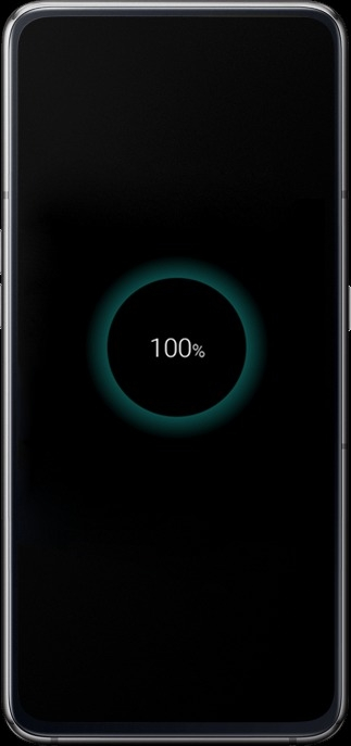 Galaxy A80 seen from the front connected to a charger with a charging icon at 100% on-screen.